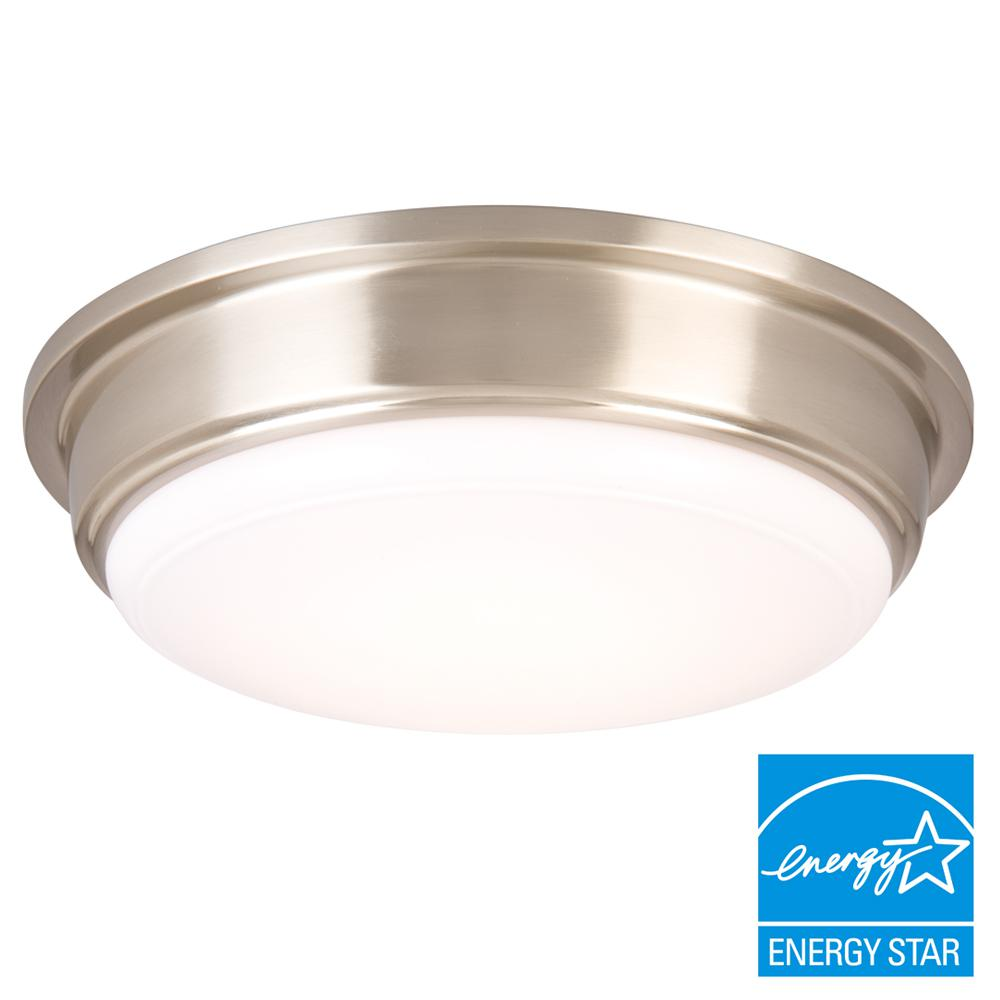 13 in. 180-Watt Equivalent Brushed Nickel Integrated LED Flushmount with Frosted