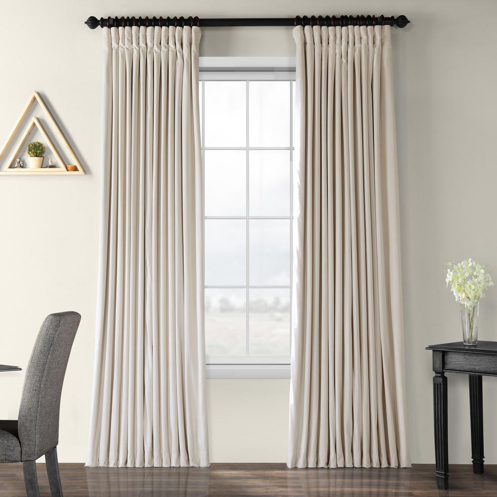 Exclusive Fabrics & Furnishings Blackout Signature Ivory Doublewide Blackout Velvet Curtain - 100 in. W x 108 in. L (1 Panel)