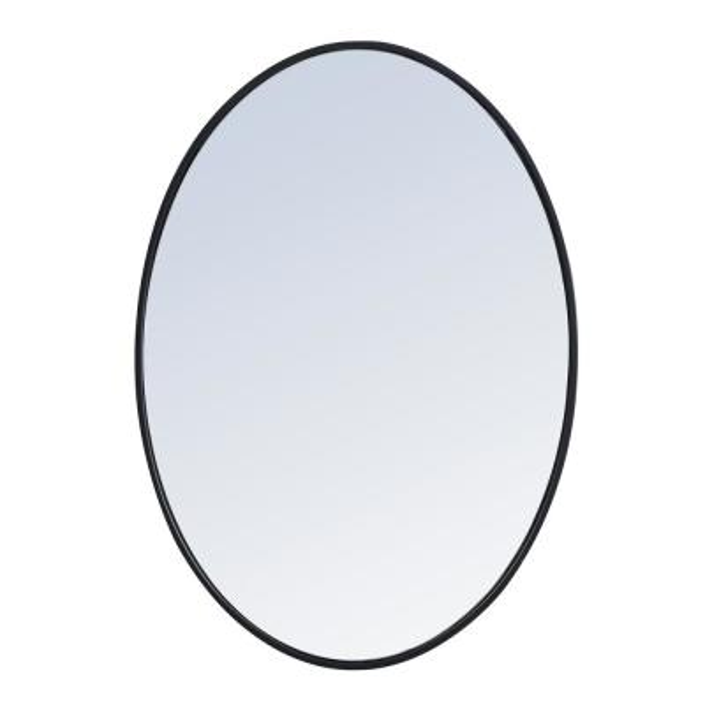 Medium Oval Black Modern Mirror (24 in. H x 34 in. W)