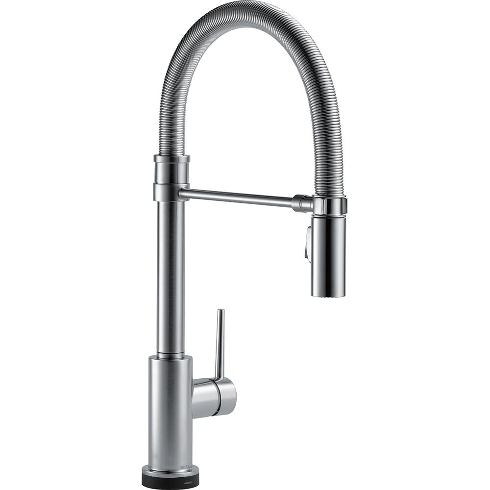Trinsic Pro Single-Handle Pull-Down Sprayer Kitchen Faucet with Touch2O Technology and Spring Spout in Arctic Stainless