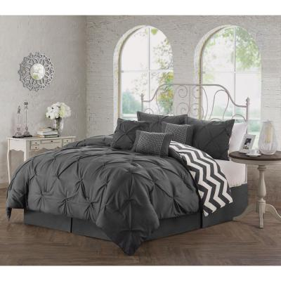 Ella Pinch Pleat Charcoal Queen Reversible Comforter with Bedskirt