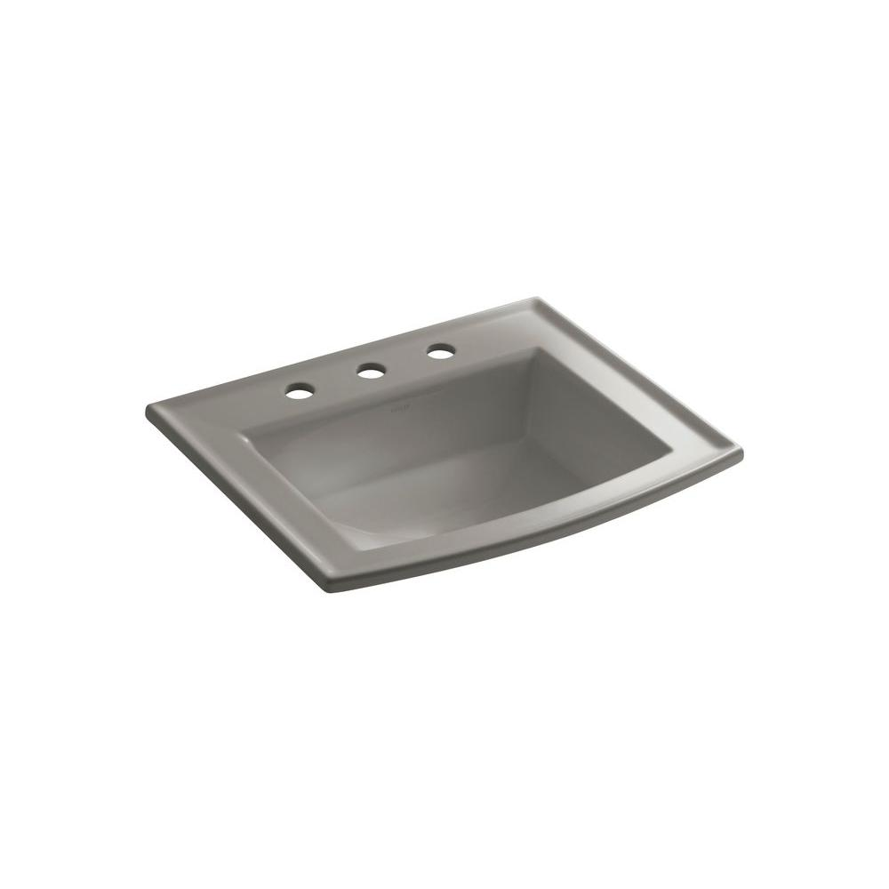Archer Drop-In Vitreous China Bathroom Sink in Cashmere with Overflow Drain