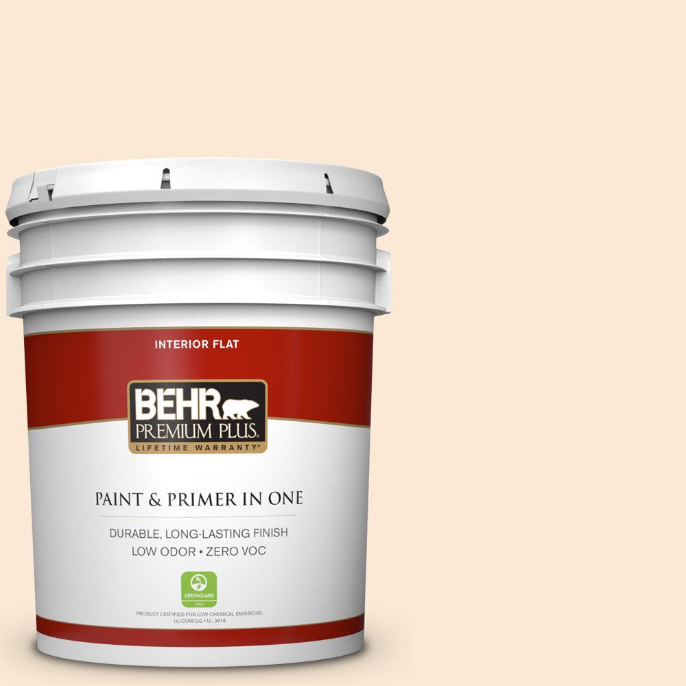 BEHR Premium Plus 5-gal. #300C-1 Princess Ivory Zero VOC Flat Interior Paint