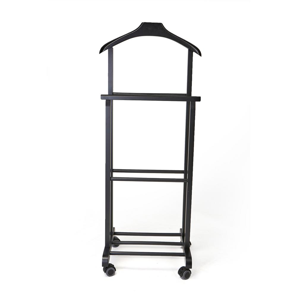 H Black Wood Standing Valet Double
