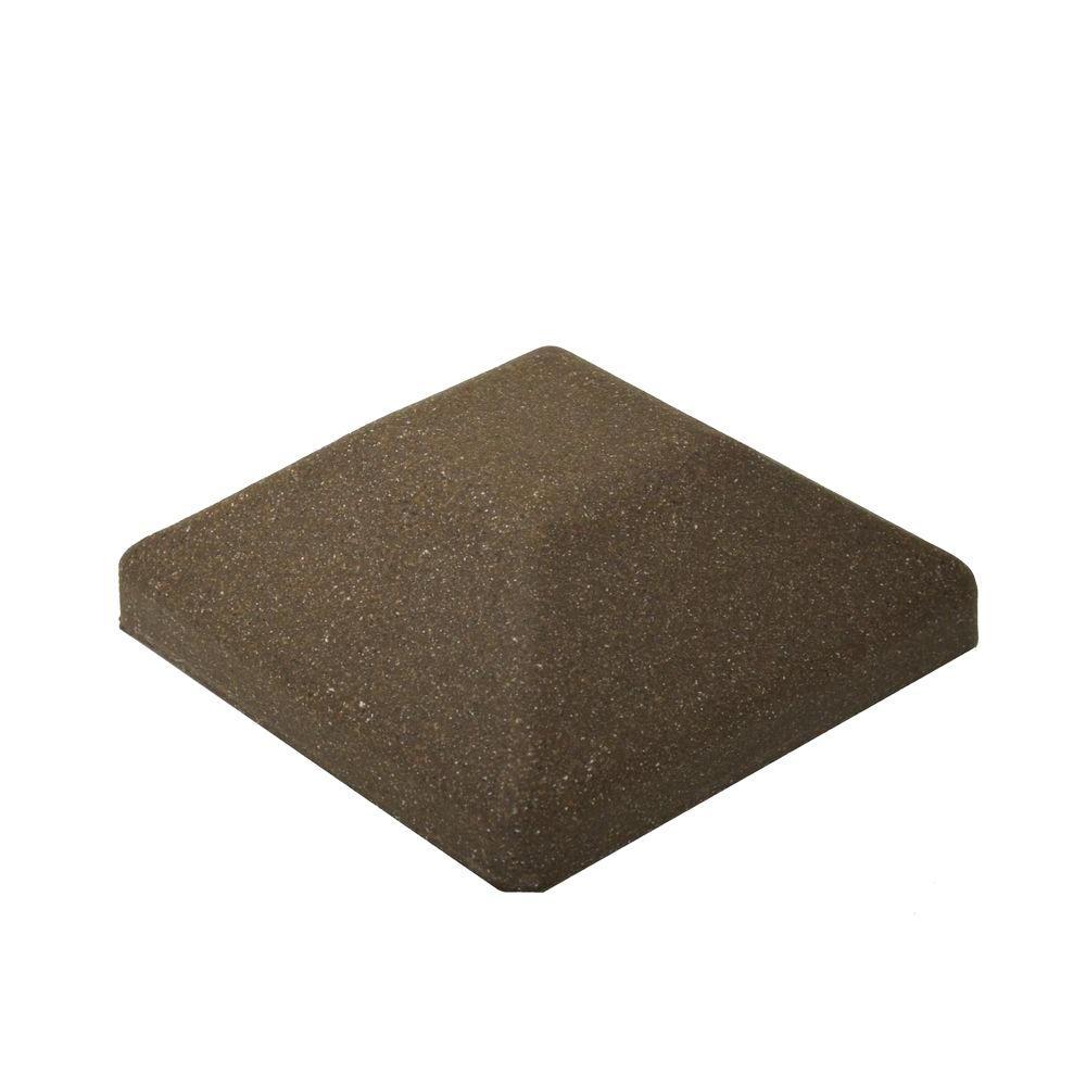 5 in. x 5 in. EcoStone Dark Brown Composite Square Fence Post Cap