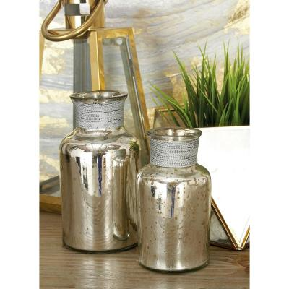 Rustic Metallic Glass Metal Apothecary Jars (Set of 3)