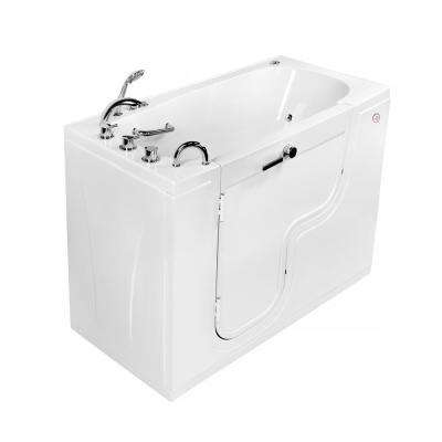 Wheelchair Transfer 60 in. Acrylic Walk-In Whirlpool and MicroBubble Bathtub in White, Faucet, Heated Seat LH Dual Drain