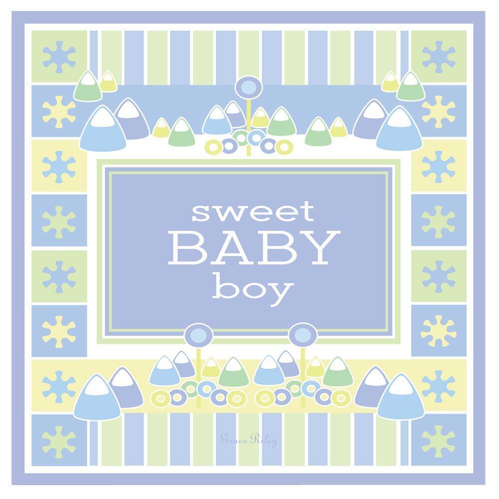 14 in. x 14 in. Sweet Baby Boy Part B Canvas