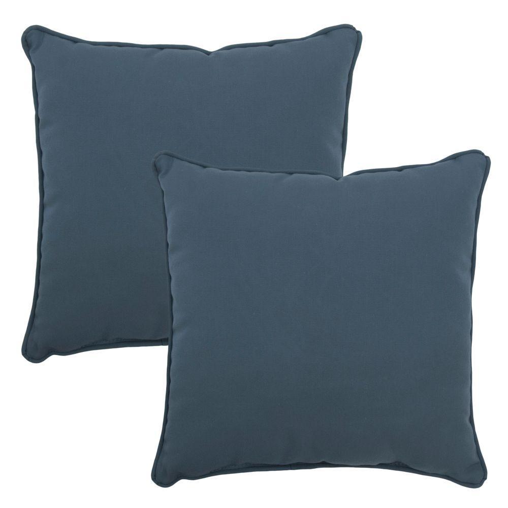 Hampton Bay 15 in. x 15 in. Sunbrella Canvas Sapphire Outdoor Throw Pillow (2-Pack)
