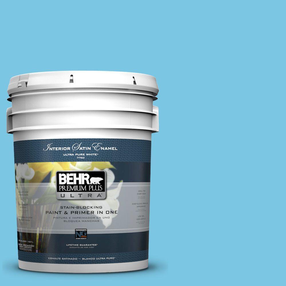 5-gal. #530B-4 Bliss Blue Satin Enamel Interior Paint