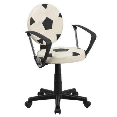 Soccer Black White Task Chair with Arms