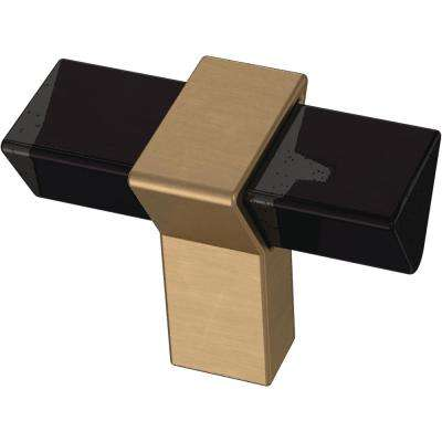 Modern Prism 1-9/16 in. (40 mm) Champagne Bronze and Black Smoke Cabinet Knob