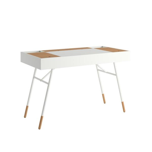 Marlowe Flip Compartment White Writing Desk with Built In Outlets