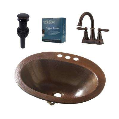 Seville All-In-One Drop-In Copper Bath Sink with Pfister 4 in. Rustic Bronze Faucet and Drain