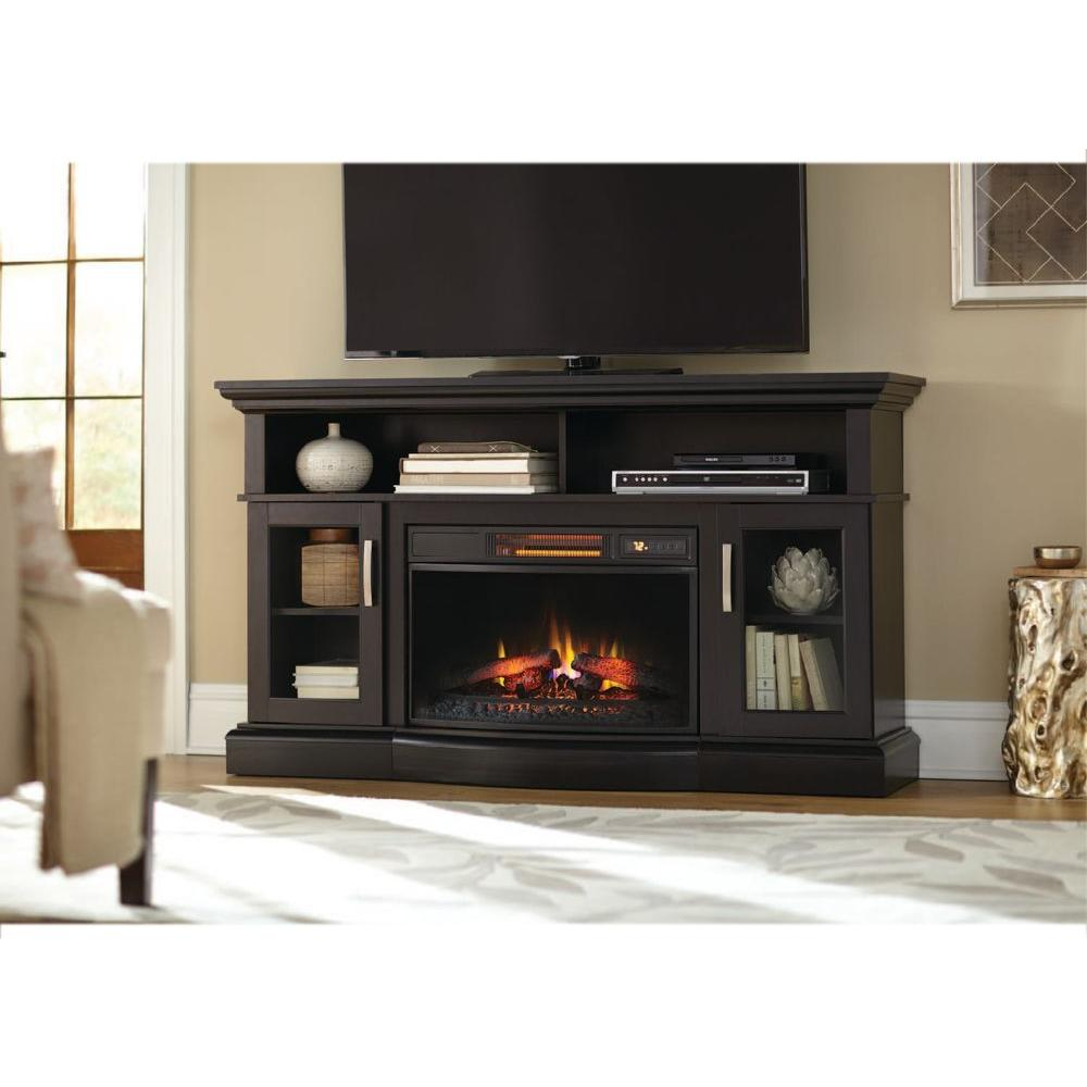 Turn off the fireplace at your convenience with Home Decorators Collection Hawkings Point Rustic Media Console Electric Fireplace in Pine.