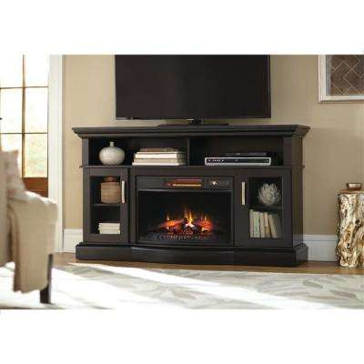 Hawkings Point 59.5 in. Rustic Media Console Electric Fireplace in Black