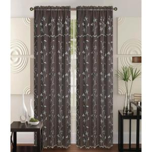 Kashi Home Alma 55 in x 84 in Rod Pocket Curtain Panel in Brown/White by Kashi Home
