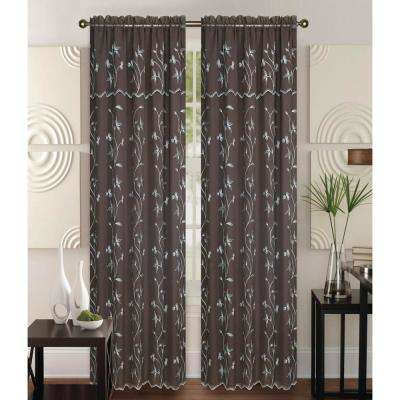 Alma 55 in x 84 in Rod Pocket Curtain Panel in Brown/White