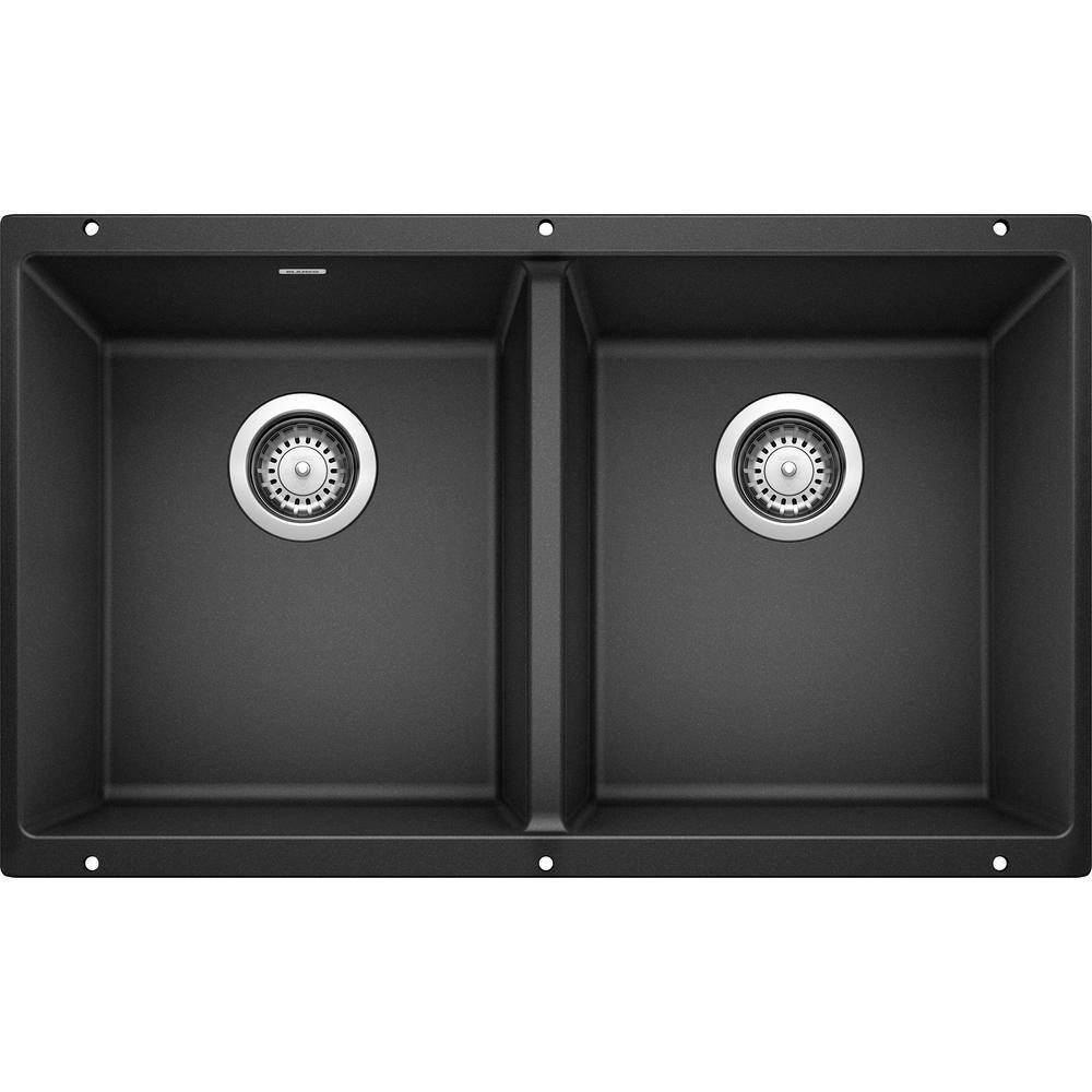 Blanco Precis Undermount Granite Composite 29 75 In 50 Double Bowl Kitchen Sink Anthracite