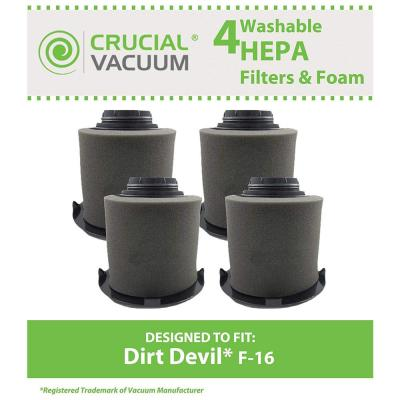 F16 HEPA Style Filters and Foams Replacement for Dirt Devil Part 1-JW1100-000 and 2-JW1000-000 (4-Pack)