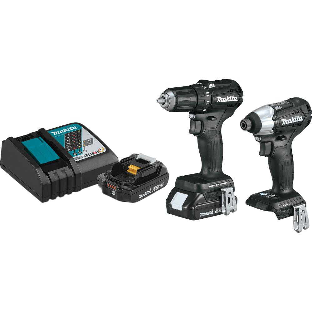 Makita 18-Volt LXT Lithium-Ion Sub-Compact Brushless Cordless 2-piece Combo  Kit (Driver-Drill/ Impact Driver) 2 0Ah