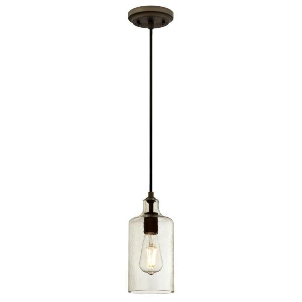 Carmen 1-Light Oil Rubbed Bronze Mini Pendant with Clear Textured Glass Shade