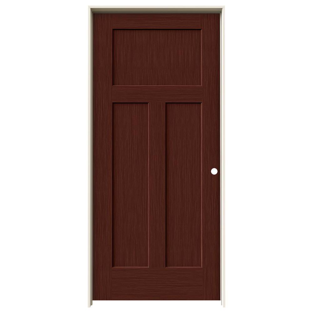 Jeld wen 36 in x 80 in craftsman black cherry stain left for Prehung interior doors