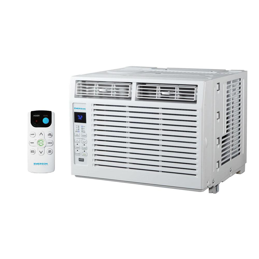 Emerson Quiet Kool 5,000 BTU 115-Volt Window Air Conditioner with Remote Control Emerson Quiet Kool window air conditioners are the perfect cooling solution for your home or office. Available with varying BTUs to accommodate any size room, you are sure to find a perfect model for your space. Equipped with a convenient remote control, you can change the function of the air conditioner from anywhere in the room to fit your comfort needs. The easy-access filters will keep fresh, clean air flowing through your room. Plus, quiet operation keeps you cool without keeping you awake. These units are intended for window installation and are not designed for standard through-the-wall installation. For peace of mind, you receive the 1-2-5 years warranty: 1 year labor, 2 years parts and 5 years compressor. Emerson Quiet Kool air conditioners are a great way to beat the heat and stay comfortable.