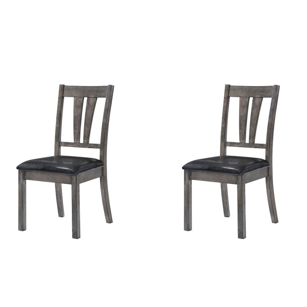 Grayson Grey Oak Fan Back Chair With PU Seat