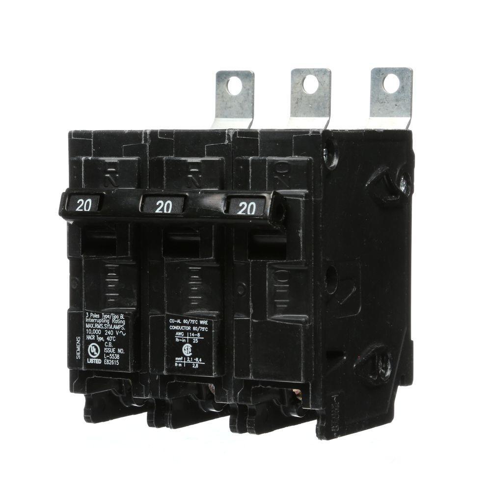 20 Amp 3-Pole Type BL 10 kA Bolt-On Circuit Breaker