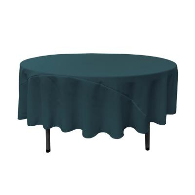 90 in. Dark Teal Polyester Poplin Round Tablecloth
