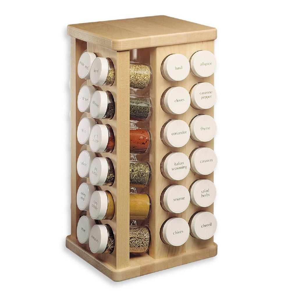 48-Bottles Sugar Maple Wood Spice Carousel