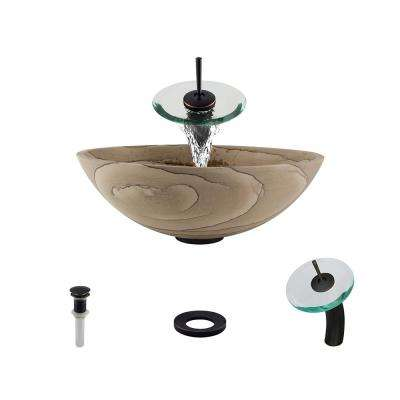 Stone Vessel Sink in Wood Sandstone with Waterfall Faucet and Pop-Up Drain in Antique Bronze