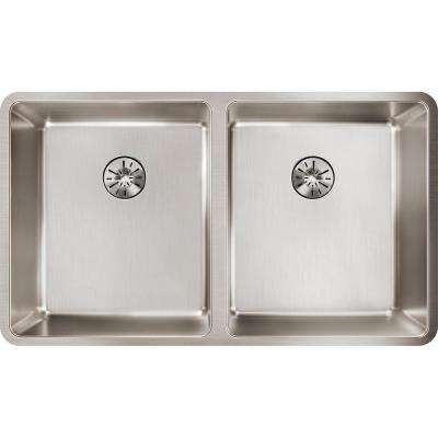 Lustertone Iconix Perfect Drain Undermount Stainless Steel 33 in. Double Bowl Kitchen Sink