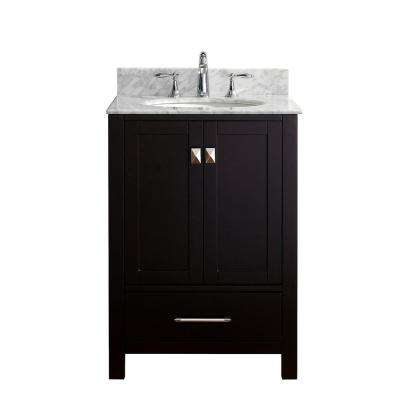 Caroline Avenue 24 in. W x 22 in. D Single Vanity in Espresso with Marble Vanity Top in White with White Basin
