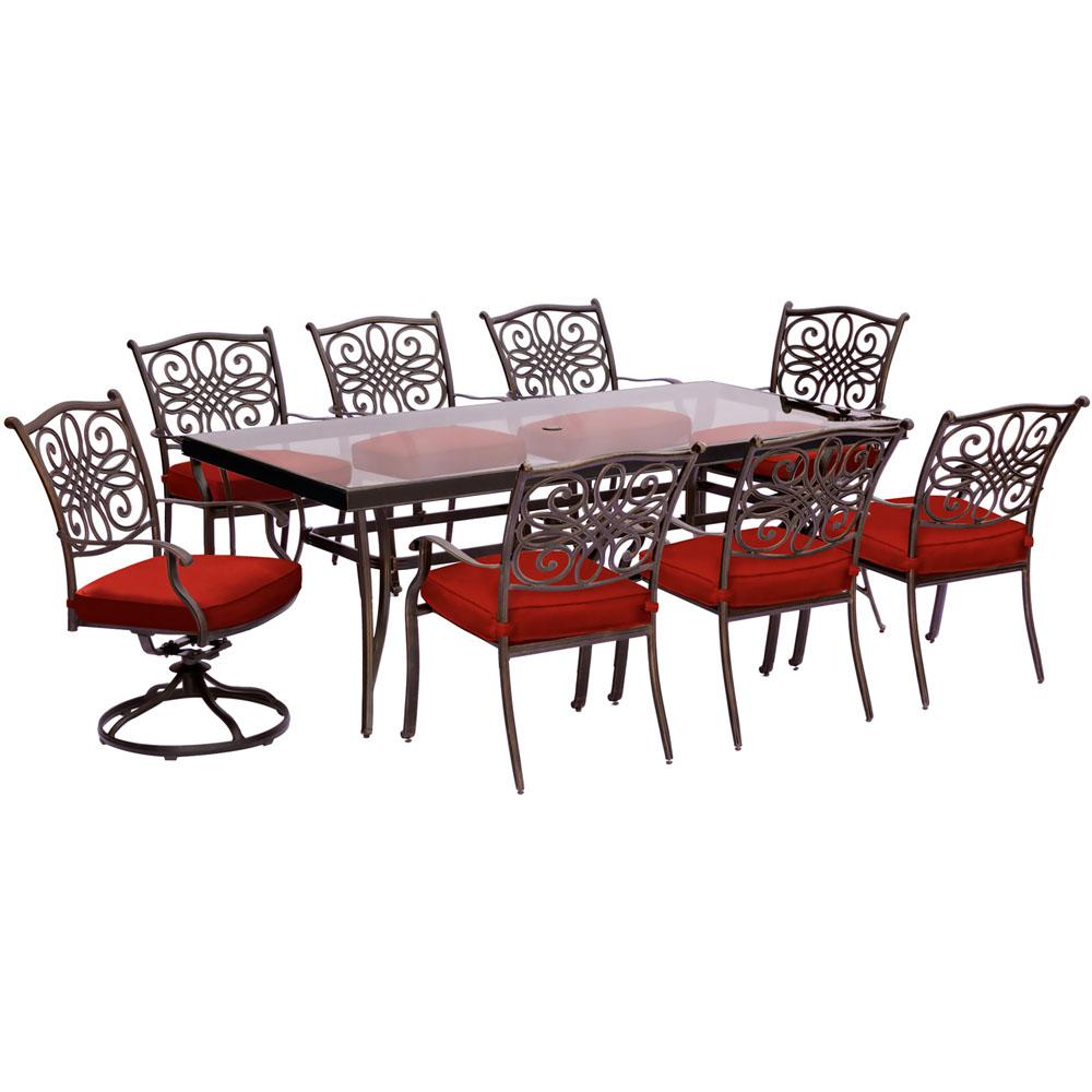 Cool Hanover Traditions 9 Piece Aluminum Outdoor Dining Set With Rectangular Glass Table And 2 Swivel Chairs With Red Cushions Evergreenethics Interior Chair Design Evergreenethicsorg