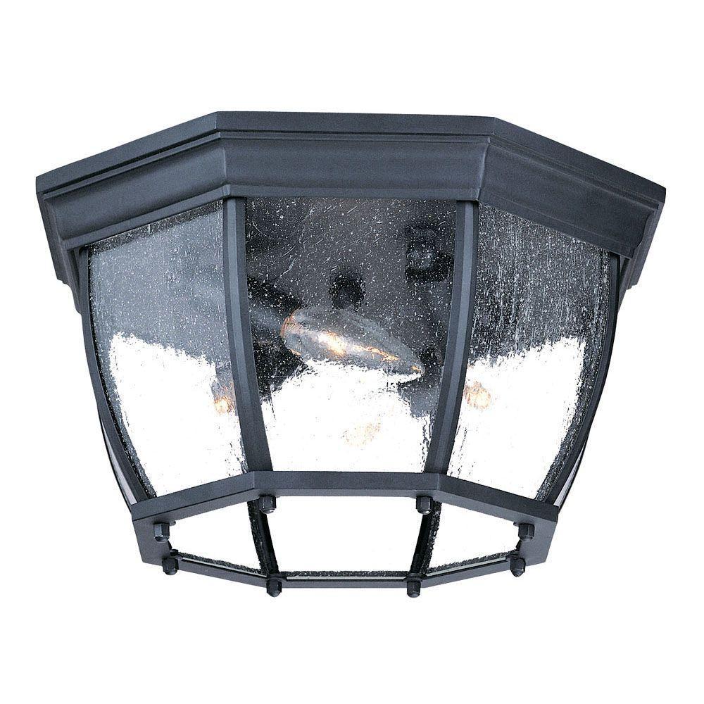 Acclaim Lighting Flushmount Collection Ceiling-Mount 4-Light Outdoor Matte Black Light Fixture