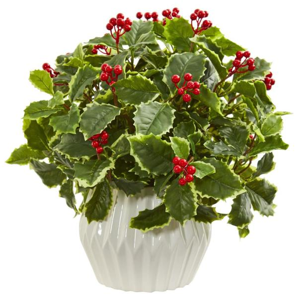 Nearly Natural Indoor 15 Holly Leaf Artificial Plant in White Vase