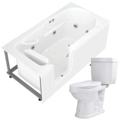 Step In 59.6 in. Walk-In Whirlpool Bathtub in White with 1.6 GPF Single Flush Toilet