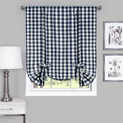 42 in. W x 63 in. L Buffalo Navy Cotton Tie Up Shade Curtain