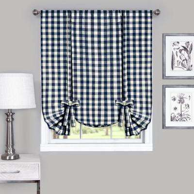Buffalo Check Navy Polyester and Cotton Window Curtain Tie Up Shade - 42 in. W x 63 in. L