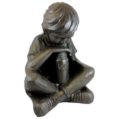 16 in. Bronze Color Nature Boy Lawn and Garden Statue