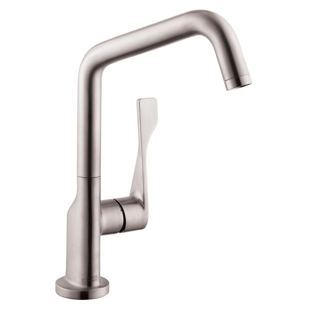 hansgrohe axor citterio single handle standard kitchen faucet in steel optik 39850801 the home. Black Bedroom Furniture Sets. Home Design Ideas