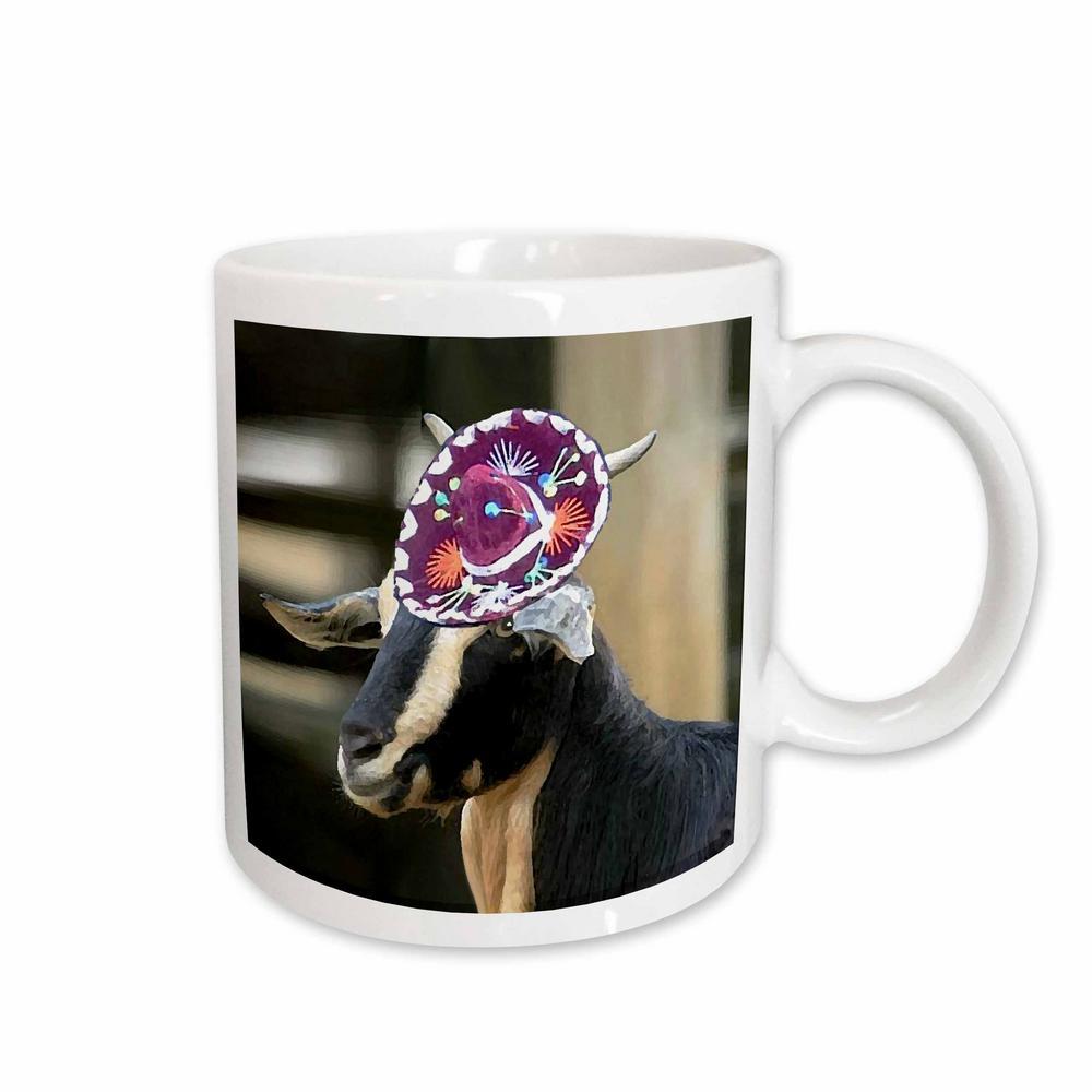 Farm Animals 11 oz. White Ceramic Goat and Sombrero Mug