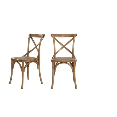 Mavery Patina Oak Finish Dining Chair with Cross Back and Woven Seat (Set of 2) (19 in. W x 34.6 in. H)