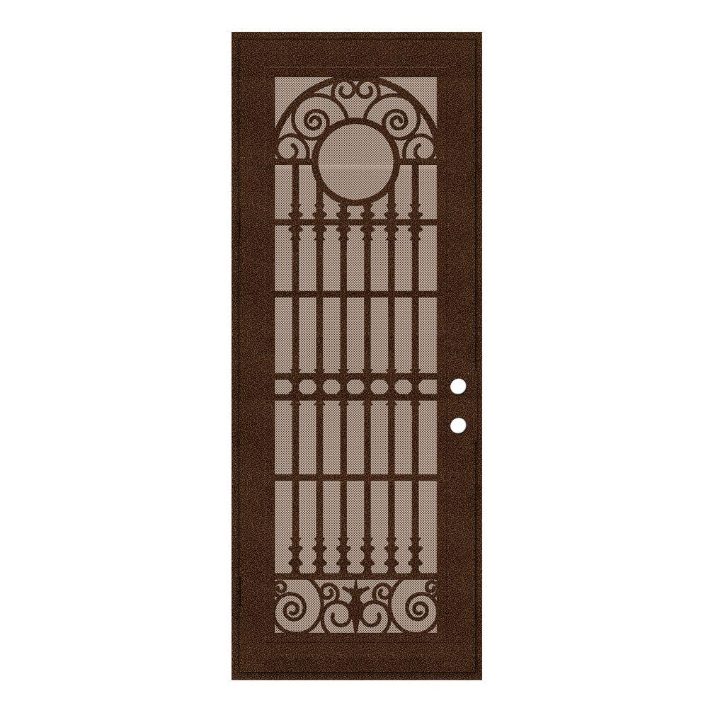 Unique Home Designs 36 in. x 96 in. Spaniard Copperclad Left-Hand Surface Mount Aluminum Security Door with Desert Sand Perforated Screen