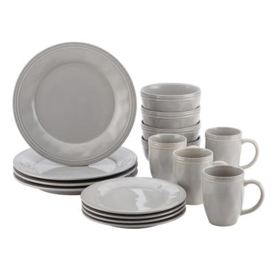 16-Piece Sea Salt Grey Stoneware Dinnerware Set