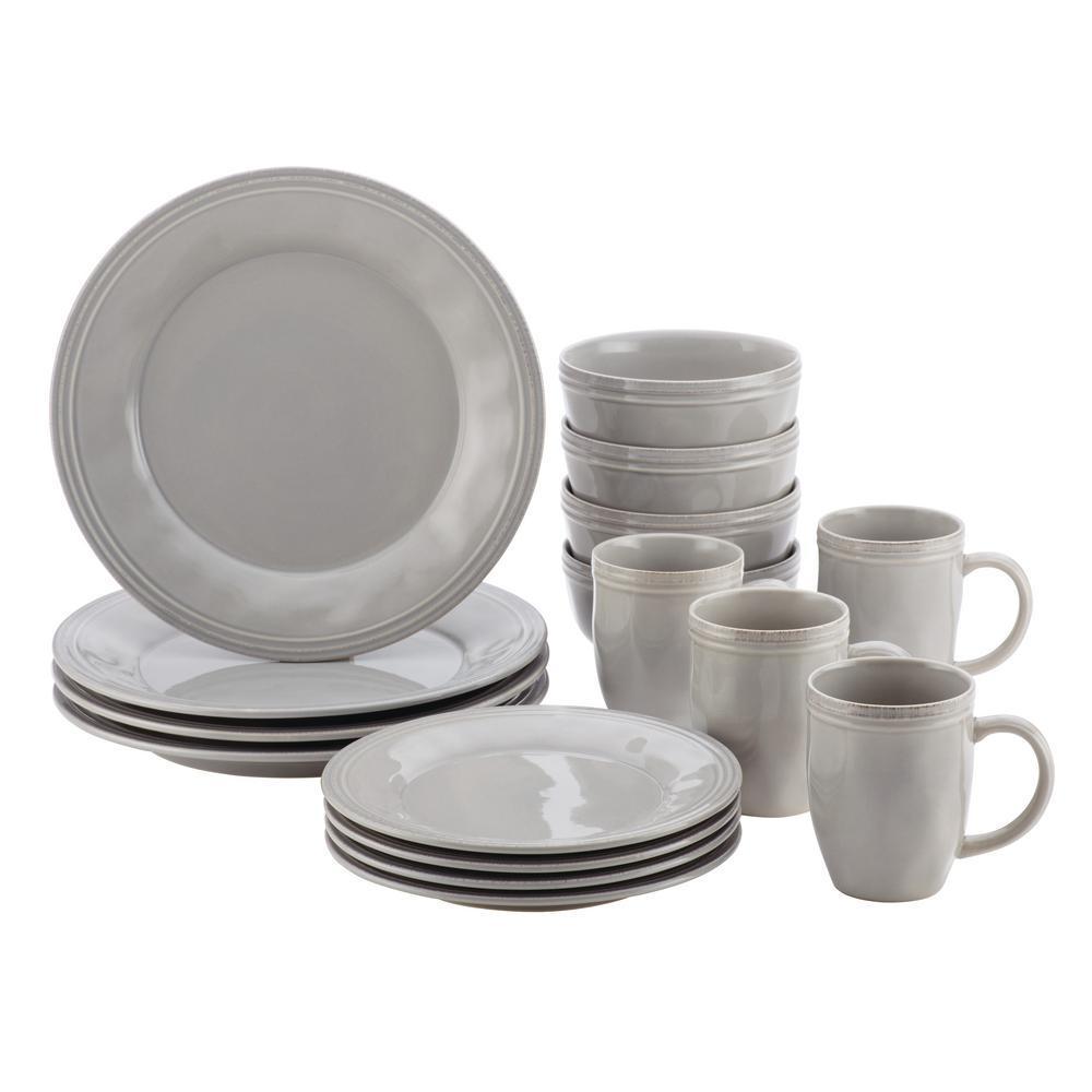 16-Piece Solid Sea Salt Gray Ceramic Dinnerware Set (Service for 16)