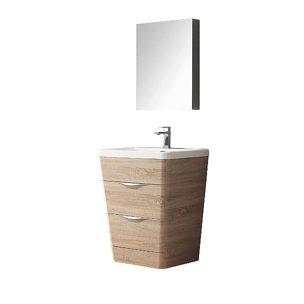 . Fresca Milano 26 in  Vanity in White Oak with Acrylic Vanity Top in White  and Medicine Cabinet