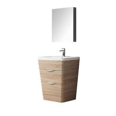 Milano 26 in. Vanity in White Oak with Acrylic Vanity Top in White and Medicine Cabinet